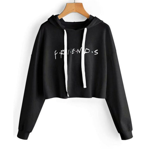 Friends Loose Cropped Hoodie Women Sweatshirts Casual Long Sleeve Pullover