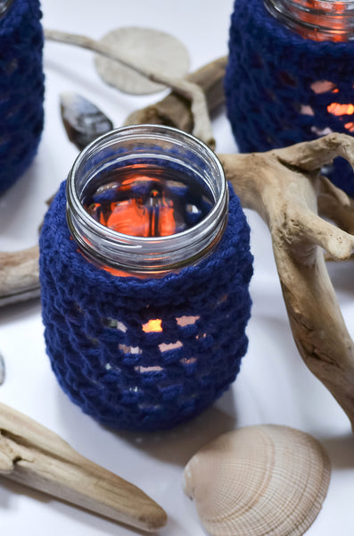 nautical mason jar cover navy