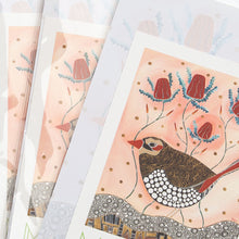 Notepad by Indigenous artist Melanie Hava. Artwork is titled Red Eared Finch.