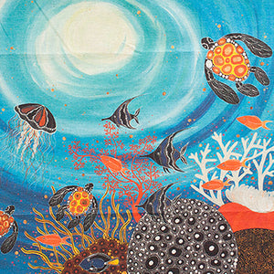 A tea towel design by Indigenous artist Melanie Hava titled Great Barrier Reef