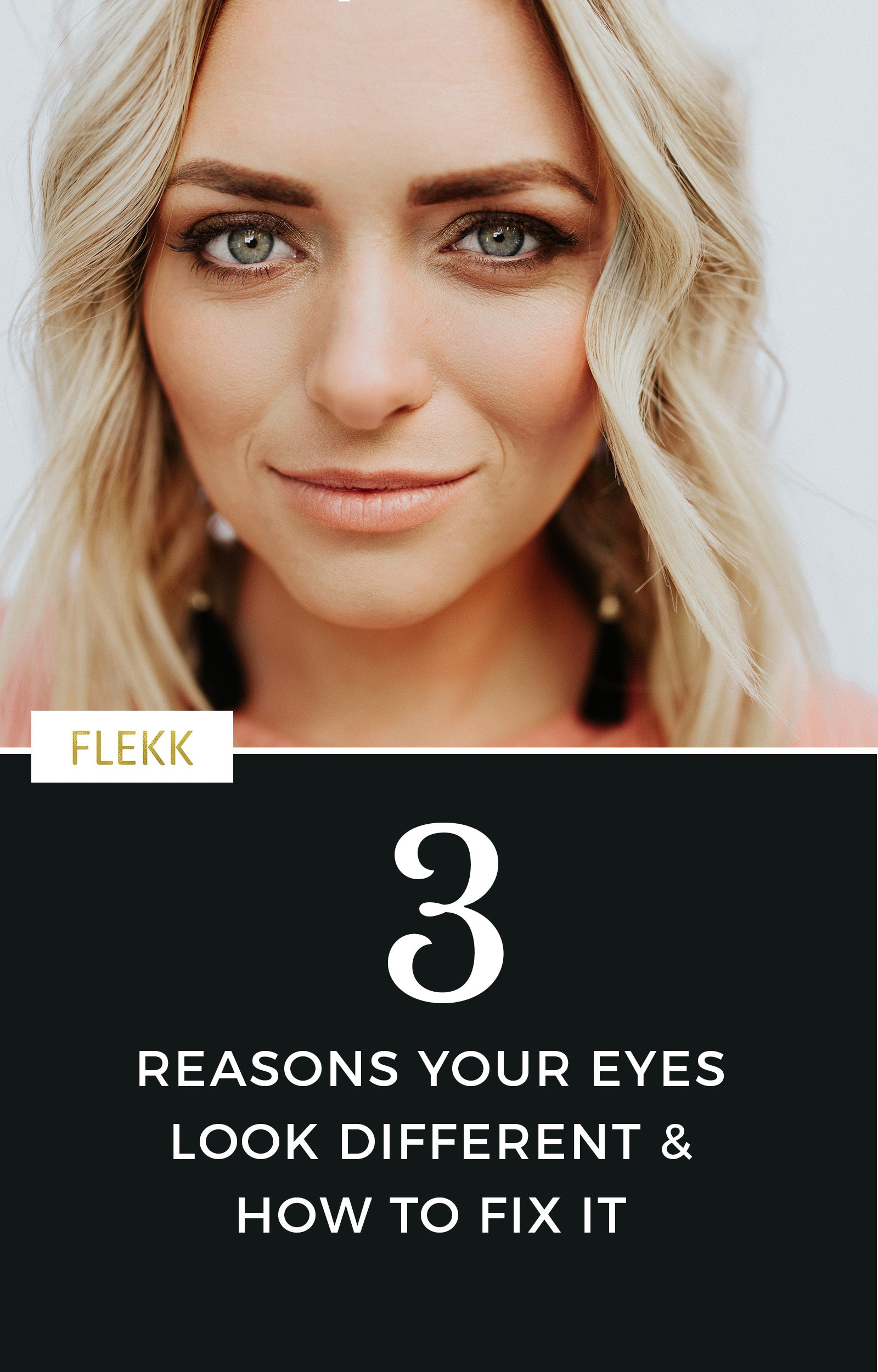 it is common for women to notice fine lines, wrinkles, sagging eyes, etc. Some will even say that one eye looks different than the other. Read on for why this happens and how you can easily restore balance to your eye makeup. #flekkcosmetics #eyemakeuptips #makeuphelp #eyeshadow #agingeyes