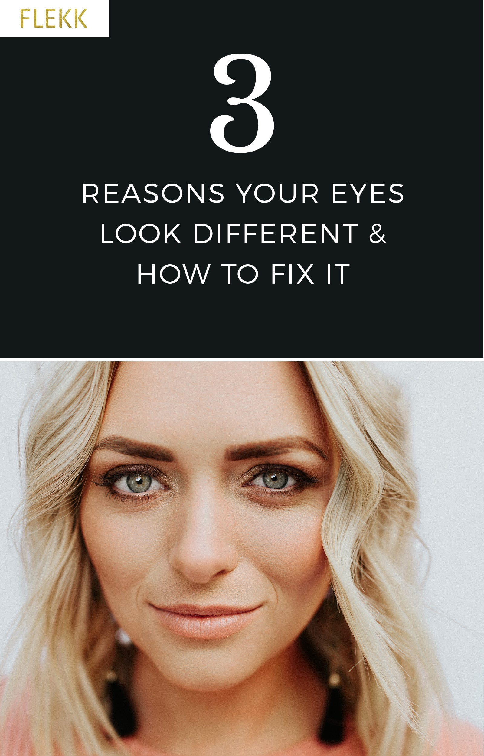 it is common for women to notice fine lines, wrinkles, sagging eyes, etc. Some will even say that one eye looks different than the other. Read on for why this happens and how you can easily restore balance to your eye makeup. #flekkcosmetics #eyemakeuptips #makeuphelp #eyeshadow #agingeyes #balance