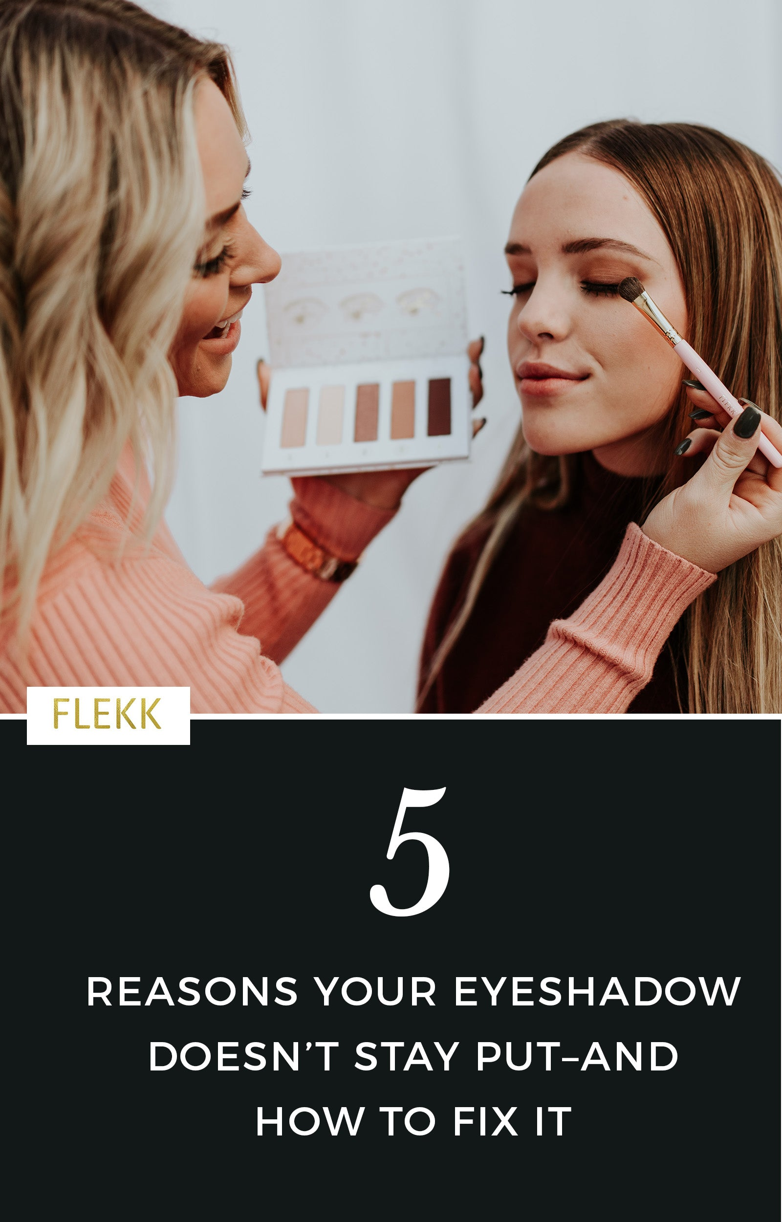 The top 5 reasons why eye shadow doesn't last–and how to fix it. How to make your eyeshadow last all day long, and these tips apply to all women (celebrities, teens, women dealing with aging eyes, etc.) #eyeshadowtips #makeuptips #eyeshadowhelp #longlasting #eyemakeup #howtoapplyeyeshadow