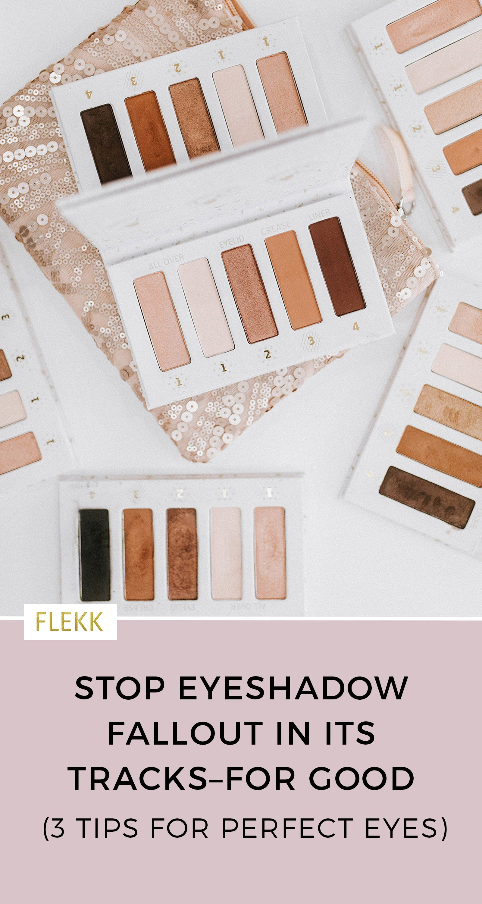 Are you tired of eye shadow fallout? Try these easy eye makeup tips for better eye makeup application. #eyeshadowtips #eyemakeuphelp #eyeshadowfallout #celebritymakeupartist
