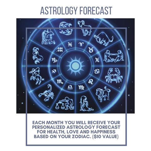 Each month you will receive your astrology forecast