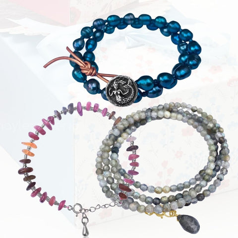 Jewelry inspired by the Sea: Mermaid Soul - Wrap Bracelet Combo with Labradorite, Pearl and Tourmaline