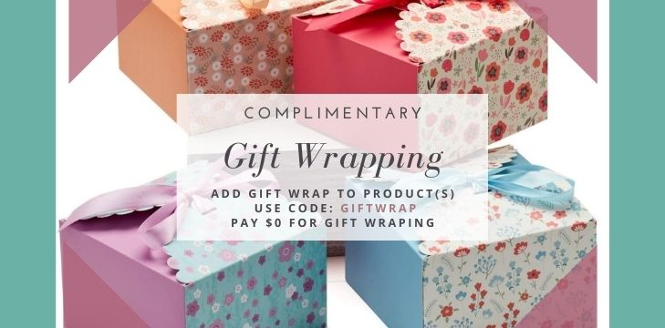 Complimentary Gift Wrapping with code GIFTWRAP in December.