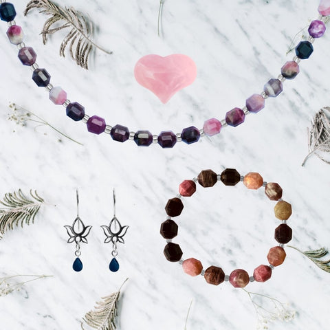 Yoga Themed Jewelry Set for Her with Tourmaline for Understanding