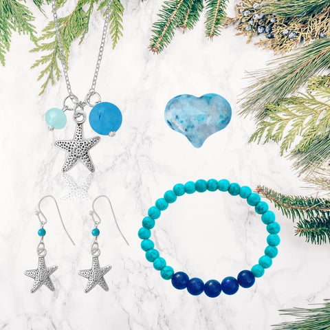 Beach Themed Jewelry Set for Kids with an Ocean Planet Bracelet and Starfish Necklace Earring Combo