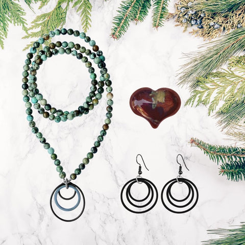 Zero Waste Ocean Themed Jewelry Set for Sustainable Living