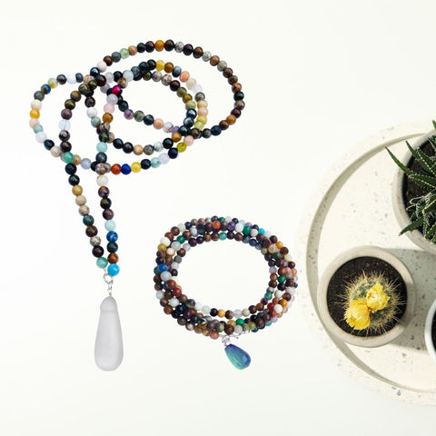 Connect with Mother Earth - Mindfulness Chakra Wrap Bracelet and Necklace Set with Healing Stones