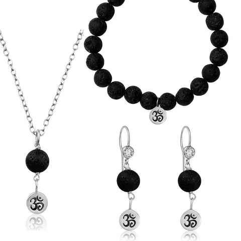 Yoga Inspired Ohm Jewelry Set with Lava Stone to Hear the Sound of the Universe