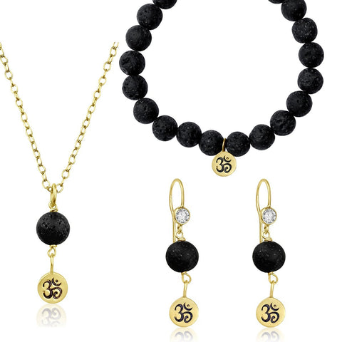 Yoga Inspired Gold Ohm Jewelry Set with Lava Stone to Hear the Sound of the Universe