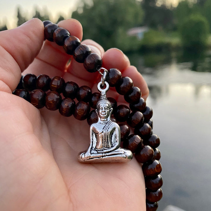 108  Mala Beads Meditation Prayer Beads Wood Necklace with Buddha