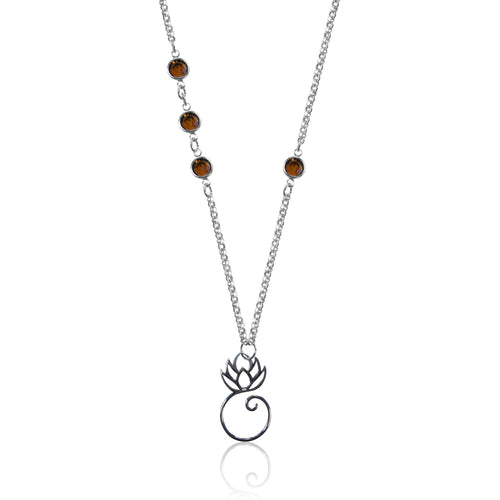 Spiritual Lotus Flower Yoga Necklace with Swarowski Crystals