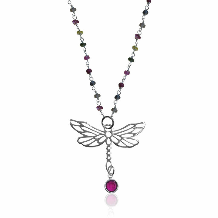 Silver Wire Wrapped Rainbow Tourmaline Necklace with a Dragonfly for Change in Your Life.