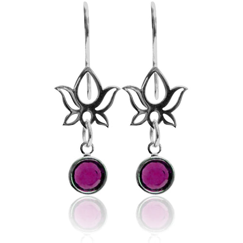 Lotus Flower Earrings with Swarowski Crystal