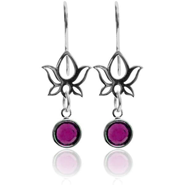 Lotus Flower Earring with Swarowski Crystal