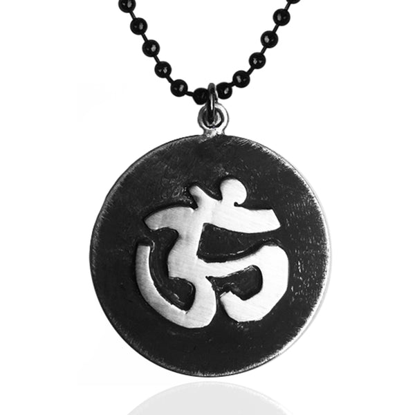 Antiqued Matte Sterling Silver Yoga and Meditation Inspired OHM Mind, Body and Spirit Pendant on a Dark Stainless Steel Necklace. Muscular Aged Look  - Ohm Necklace for those not Liking Shiny Silver.