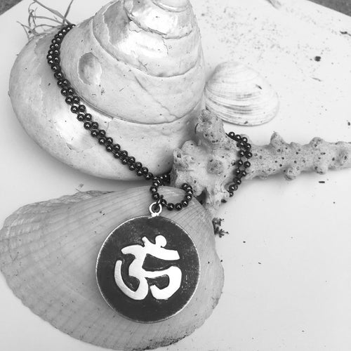Antiqued Matte Sterling Silver Yoga and Meditation Inspired OHM Mind, Body and Spirit Pendant