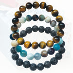 Calming Anxiety Jewelry Set: Lava Stone, Amazonite and Tiger Eye Bracelet Trio