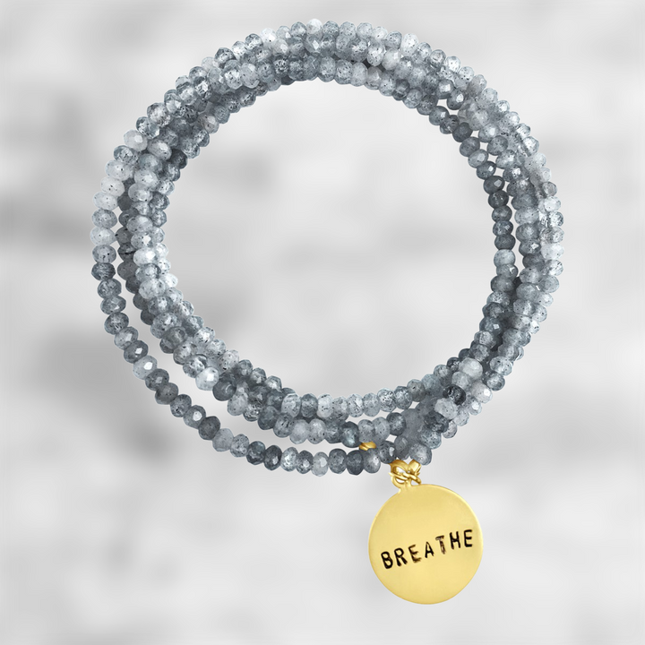 Gold BREATHE Wrap Bracelet with Labradorite to bring amazing Changes in Your Life