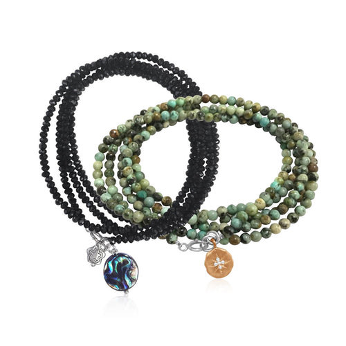 Enjoy the Journey and Ocean Beauty Wrap Bracelet with Abalone -Travel Jewelry Combo