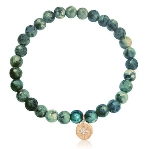 Enjoy the Journey African Turquoise Bracelet with Rose Gold Compass Charm. Be present wherever you are in your life and in the world. Enjoy every moment of your journey! Turquoise is perhaps the oldest stone in man's history, the talisman of kings, shamans, and warriors.