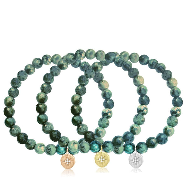 Enjoy the Journey - African Turquoise Bracelets. One with Rose Gold, Yellow Gold (Gold Filled) & Sterling Silver Compass Charm. One of these will complement every outfit in your wardrobe ;-) Change it up or wear them all together!