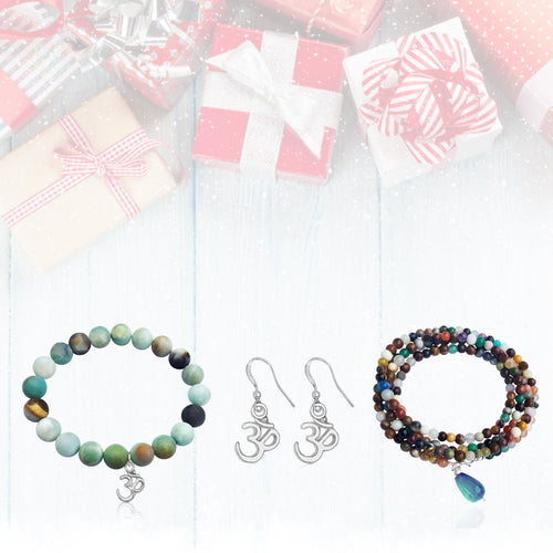 Gift Set for the Yogi: Mindfulness Wrap Bracelet, Amazonite Bracelet, Ohm Earring