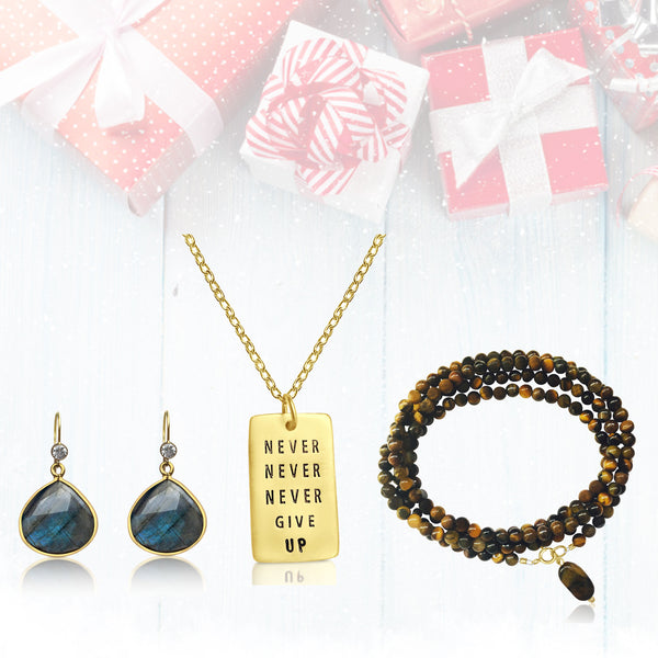 Gift Set for a Positive Mindset: Never Give Up Dog Tag Necklace, Labradorite Earrings, Tiger Eye Wrap Bracelet in a READY TO GIFT Box.
