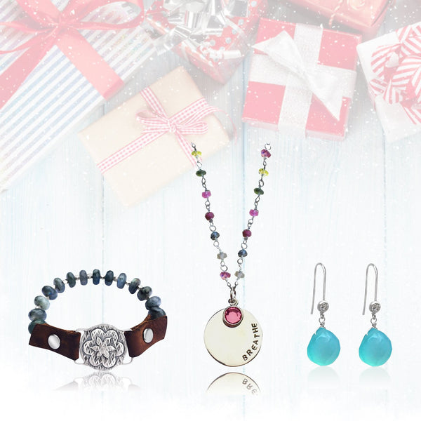 The Ultimate Inspirational Gift Set: BREATHE Tourmaline Necklace, Visualization Bracelet and Aquamarine Earrings Trio in a READY TO GIFT Box.