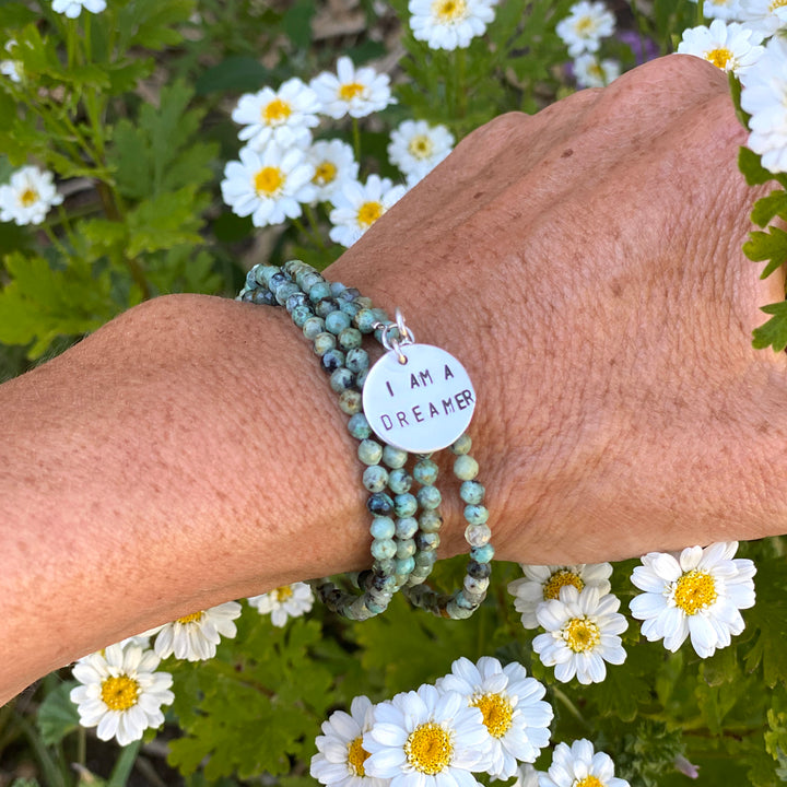 I am a Dreamer - Affirmation Bracelet and Wrap Bracelet with African Turquoise