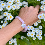 I am a Survivor- Affirmation Bracelet with Rose Quartz. I am a survivor, not a victim.