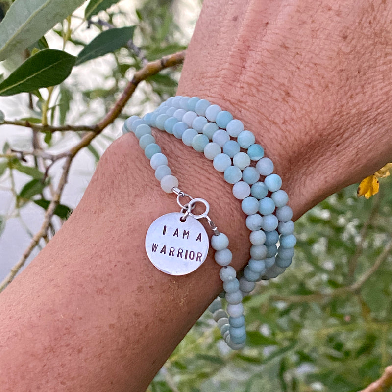 I am a Warrior - Affirmation Wrap Bracelet with Amazonite. We all have to fight for something in life.