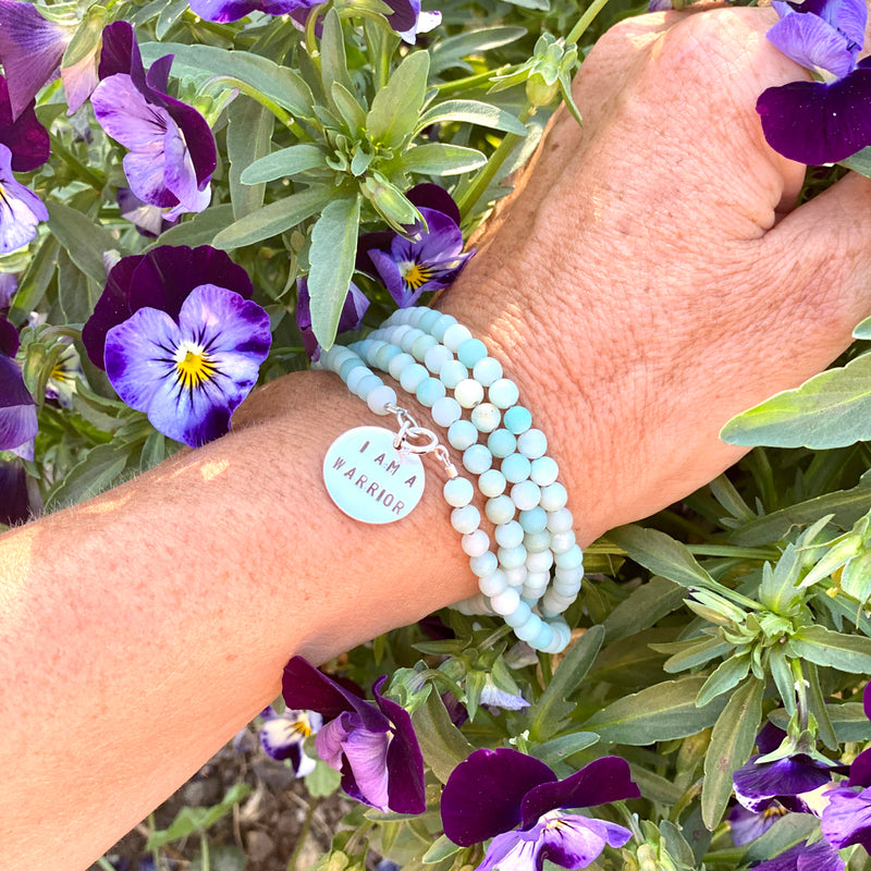 I am a Warrior - Affirmation Wrap Bracelet with Amazonite