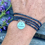 I am Enough - Affirmation Wrap Bracelet with Midnight Dark Crystal