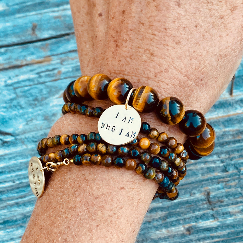 I am who I am - Affirmation Bracelet with Tiger Eye. To be yourself in a world that is constantly trying to make you something else is the greatest accomplishment.