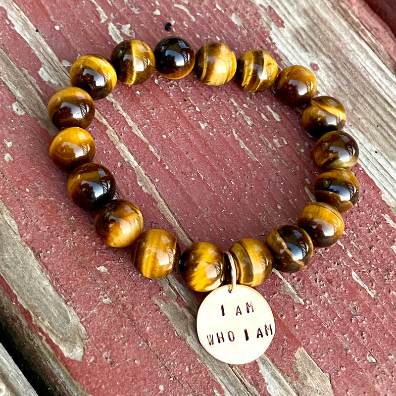 I am who I am and I am Enough Affirmation Bracelets with Tiger Eye and Lava Stone.