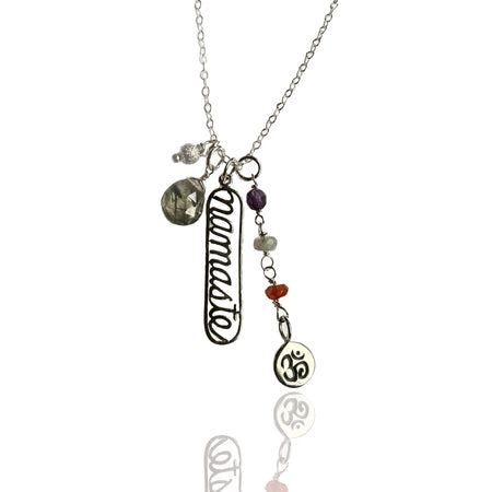 Ohm Charm Necklace with Hematite and Aquamarine (GF)
