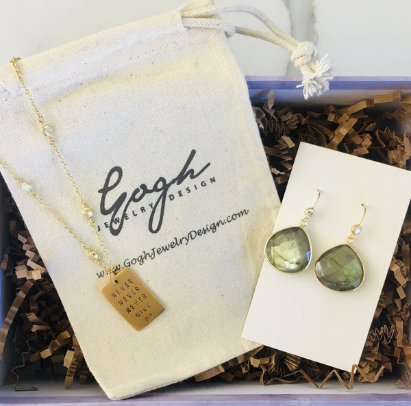 Gift Set to Give Courage: Never Give Up Dog Tag Necklace, Labradorite Earrings