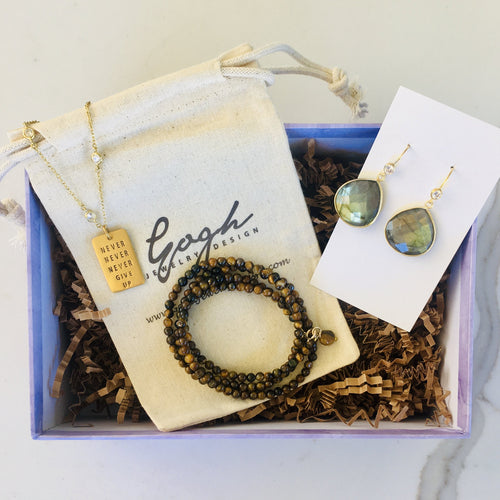 Gift Set for Positive Mindset: Never Give Up Dog Tag Necklace, Labradorite Earrings, Tiger Eye Wrap Bracelet