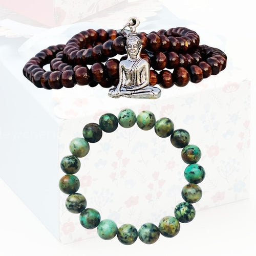 Stay Positive Meditation 108 Mala Necklace  and Bracelet Set