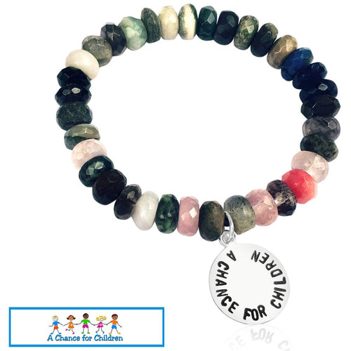 Mindfulness Bracelet with a Mix of Semi-Precious Healing Stones Supporting my Favorite Charity, A Chance for Children Foundation