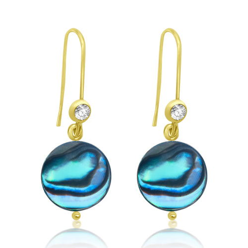 Abalone Gold Earrings. It reminds us of the beauties of the ocean on a sunny day.