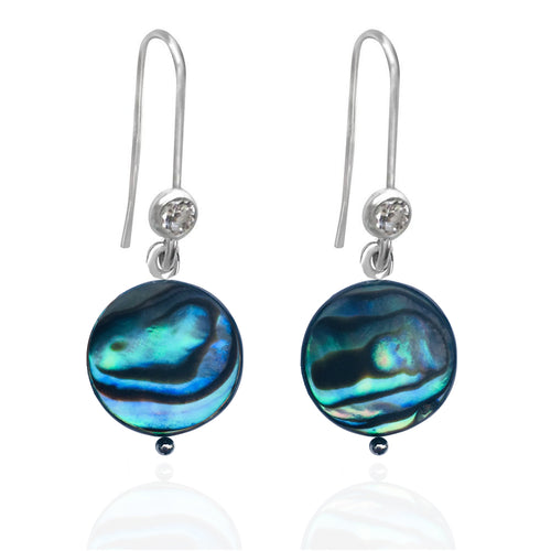 Silver Abalone Shell Earrings from the Pacific Ocean