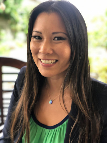 Angela Sun wearing Silver Abalone Shell Necklace from the Pacific Ocean.
