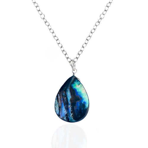 Silver Abalone Shell Necklace from the Pacific Ocean.