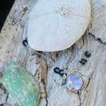 Zero Waste Bracelet with up-recycled SCUBA parts and Abalone pendant from the Pacific Ocean.  Eco-conscious jewelry for the ocean lovers, surfers, scuba divers.