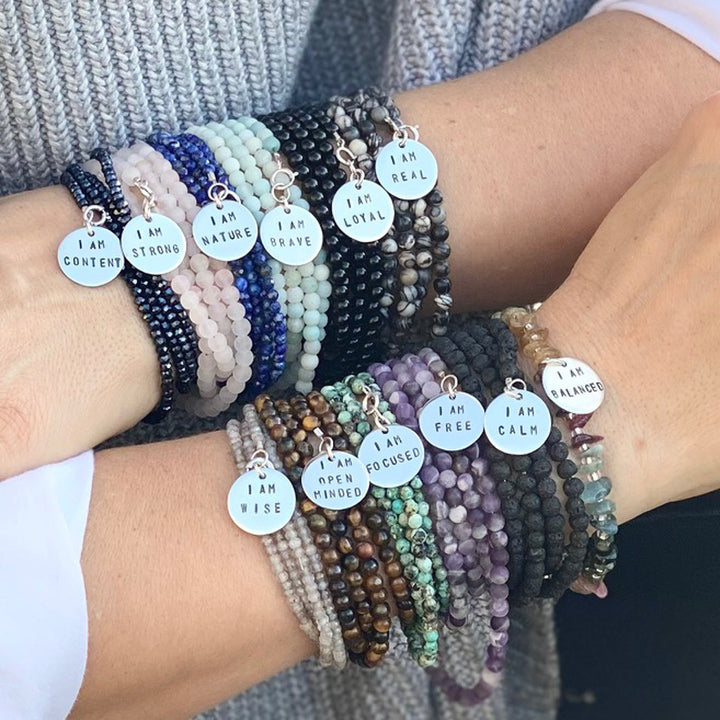 I am Content Affirmation Bracelet to Help Feel Happy with Midnight Dark Crystals